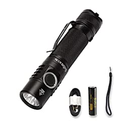 Super Bright : Sofirn SC31 Pro utilizes 1 x SST40 LED, giving out up to 2000 lumens, throwing up to 200 meters .It's bright enough for hiking, camping, dog walking, running, hunting, fishing etc. Operated by single 18650 battery which very easy to fi...