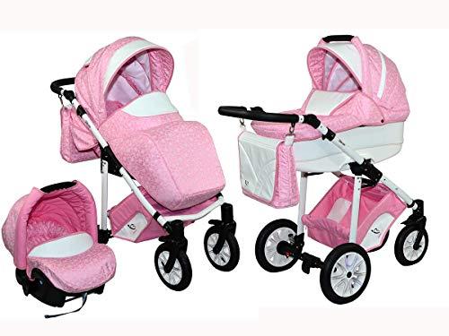 Skyline Kombi 3in1 Kinderwagen mit einem Aluminium Gestell, Babywanne, Sport Buggyaufsatz und Babyschale (ISOFIX) (Rosa Blumen)