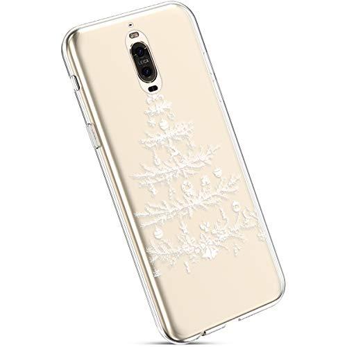 Ysimee Coque Compatible avec Huawei Mate 9 Pro Transparent Étui avec Motif Noël Christmas Housse de Protection en Silicone Souple Ultra Mince et Léger Crystal Clear Gel Téléphone Couverture,Sapin Noël