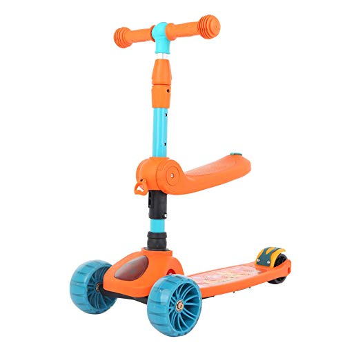 [US STOCK] Kick Scooters for Kids 2-12 Years Old - Foldable Scooter with Removable Seat, 3 LED Light Wheels, Adjustable Height