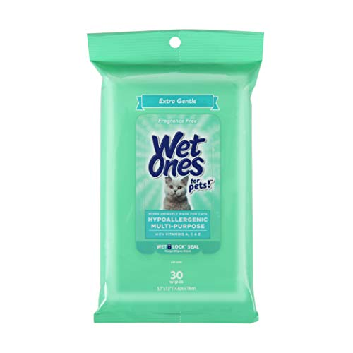 Wet Ones for Pets Hypoallergenic Multi-Purpose Wipes for Cats   Extra Gentle Fragrance-Free Cat Grooming Wipes with Vitamins A, C, E, Wet Ones Wipes with Wet Lock Seal   30 Count Pouch Cat Wipes
