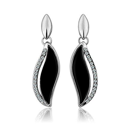 NYKKOLA Fashion Circonita Flor de cristal Trébol de la hoja 18K chapado en oro de oreja pendientes colgantes
