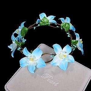 De Navidad Guirnalda De Flores Artificiales,Azucena Azul Flores Vintage Accesorios De Cabello Novedad Bohemio Guirnaldas…