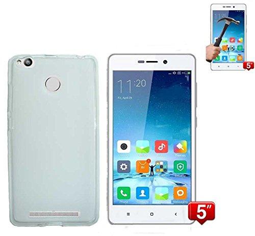 Todobarato24h Funda TPU Lisa Compatible con Xiaomi REDMI 3 Pro / 3S Blanca + Protector DE Cristal Templado