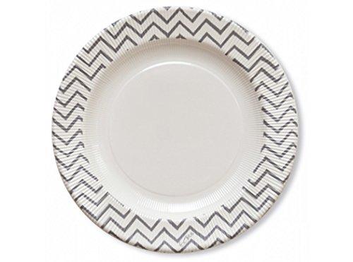 Extra Lot de 8 assiettes en papier à rayures argentées type chevrons, 27 cm