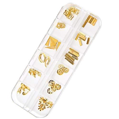 1 Caja Nail Art Puntas De Uñas Del Remache 3d Decoración De Diy Mezcló Formado Clavo Stud Arte Tatuajes De Consejos De Oro