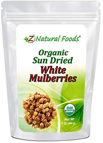 Organic White Mulberries - Sun Dried & 100% Pure - No Sugar Added - Exotic All Natural Raisin Alternative - Superfood Fruit Snack for Trail Mix, Smoothies, Yogurt, Cooking & Baking Recipes - 1 lb