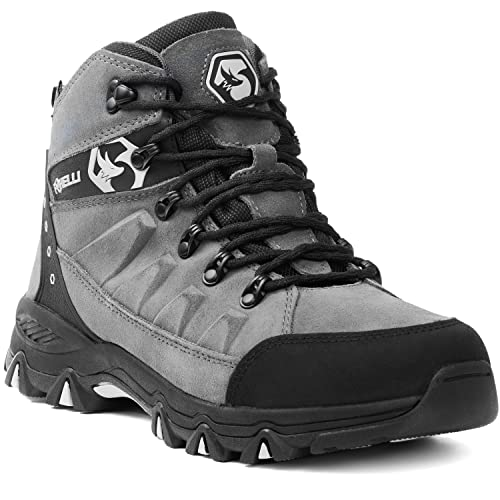Foxelli Men's Hiking Boots – Waterproof Suede Leather Hiking Boots for Men, Breathable,...