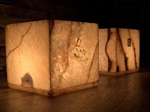 Maison Zoe Alabaster-Stein Quader Kerzenhalter 2er Set - 10cm hoch - handgeschnitzte Kerzenhalter - Deko ~ 1Kilo