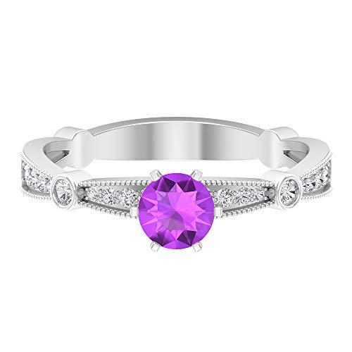 Rosec Jewels 14 quilates oro blanco redonda round-brilliant-shape H-I Purple Diamond Creado en laboratorio de kunzita