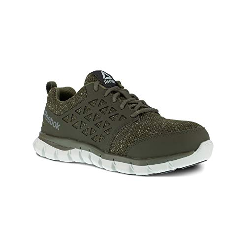 Reebok Work Women's Sublite Cushion Safety Toe Athletic Work Shoe, Olive Green, 7.5 Wide
