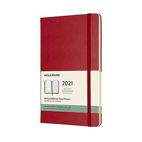 Moleskine - Agenda Settimanale 2021, Agenda Settimanale 12 Mesi, Weekly Planner e Notebook, Copertina Rigida, Formato Large 13 x 21 cm, Colore Rosso Scarlatto, 144 Pagine