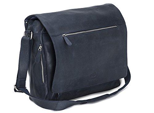 Solo Pelle Business Messenger Tasche / Umhängetasche College Tasche aus echtem Leder Model: Hero (Mitternachtsblau)