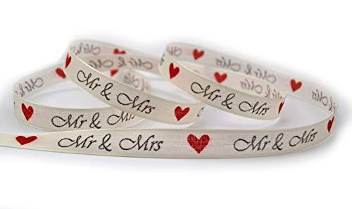 finemark Dekoband Mr & Mrs Herzen 3 m x 15 mm Ivory Creme Rot (1,00€/m) Stoffband für Hochzeitsgeschenk Hochzeitsalbum Schleifenband