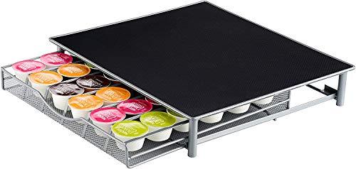 Jardin Mile® Dolce Gusto Café Pod support, 36capsules pour tiroir de rangement empilables, cadre en acier inoxydable avec surface antidérapante, anti vibration Dolce Gusto Café Pod support en noir