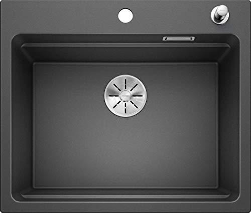 BLANCO Spül-Set in anthrazit – ETAGON 6 – Spülbecken für 60 cm Unterschränke – Granitspüle aus SILGRANIT + LINUS-S – Küchenarmatur in SILGRANIT-Look – mit herausziehbarem Auslauf