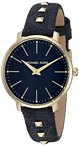 Michael Kors Women's Pyper Stainless Steel Quartz Watch with Plastic Strap, Black, 14 (Model: MK2872)
