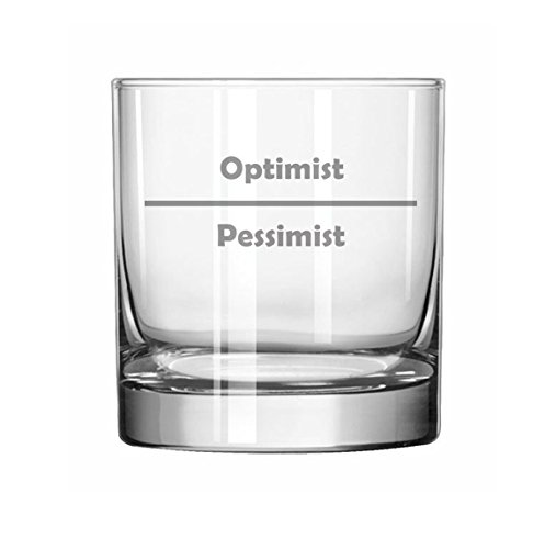 11 oz Rocks Whiskey Highball Glass Funny Optimist Pessimist