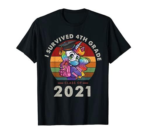 I Survived 4th Grade Class Of 2021 Graduation Retro Unicorn Camiseta
