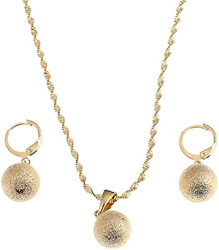 niuziyanfa Co.,ltd Necklace Gold Color Frosting Pearl Round Pendant Necklace Ball Dangle Earrings for Women Africa Jewelry Set Gift