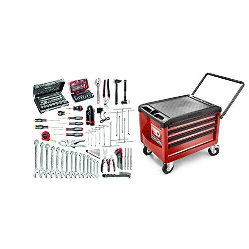 CR4.MO1 selectie 118 gereedschappen voor het onderhoud van 2 wielen en motorfietsen plus rolkoffer