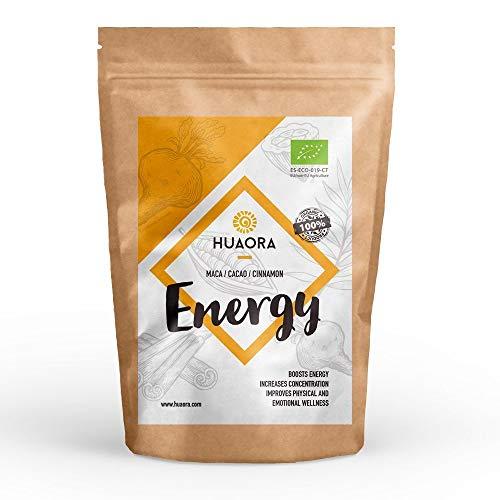 Huaora - Energy, Maca, Canela, Cacao Superalimentos Veganos Orgánicos 150gr | Alto valor nutritivo y energético | 100% Natural y Orgánico - Sin Gluten, Sin Lactosa, Sin Aditivos Artificiales