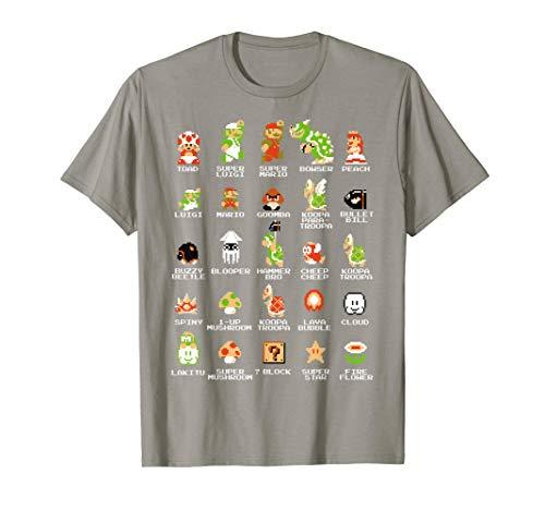 Nintendo Super Mario 8-bit Pixel Icons List Vintage T-Shirt T-Shirt