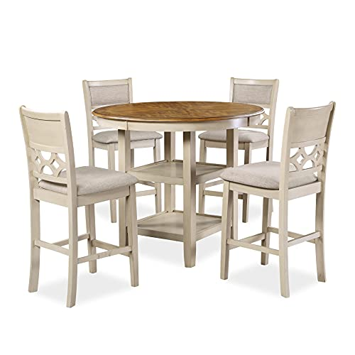 New Classic Furniture Mitchell Dining Room Table, Bisque/Brown