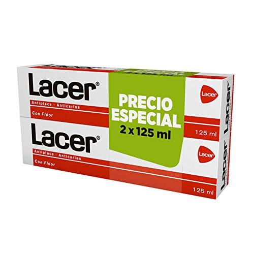 LACER pasta dentífrica antiplaca y anticaries con flúor pack 2 tubos 125 ml