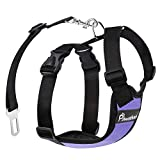 Pawaboo Dog Safety Vest Harness, Pet Car Harness Vehicle Seat Belt with Adjustable Strap and Buckle Clip, Easy Control for Driving Traveling Safety for Small Medium Dogs Cats, Medium, Purple