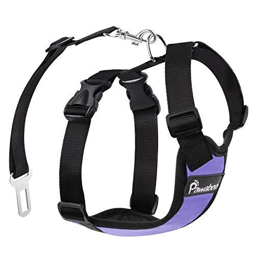 Pawaboo Cinturón De Seguridad de Perro - Adjustable Vest/Harness Car Safety Adecuado para Perros de 11 LBS - 33 LBS, Talla M, Morado