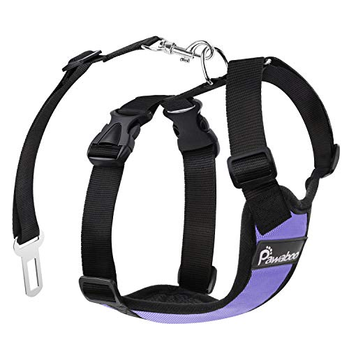 Pawaboo Dog Safety Vest Harness, Pet Car Harness Vehicle Seat Belt with Adjustable Strap and Buckle Clip, Easy Control for Driving Traveling Safety for Small Medium Dogs Cats, Large, Purple