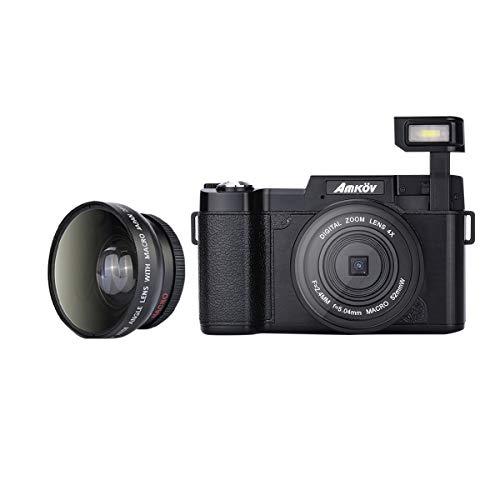 LEDMOMO Amkov R2 Mini Kamera 1080P HD Video 180 Grad drehbarer 3-Zoll-TFT-Bildschirm 4fach Digital-Zoom-Kamera-Camcorder mit Weitwinkel-Len