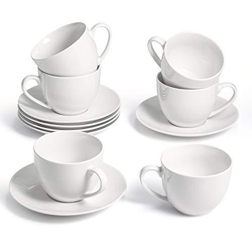SUNTING Kaffeetassen Set Porzellan CremeWeiß Espressotassen Set 6 Personen. Neue Bone China Kaffeeservice mit 6 280ml Cappuccino Tassen 6 Untertassen