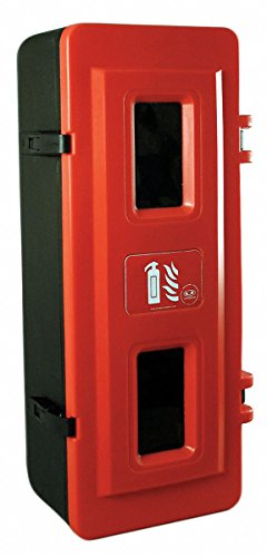 Fire Extinguisher Cabinet, 20 lb, Blk/Red