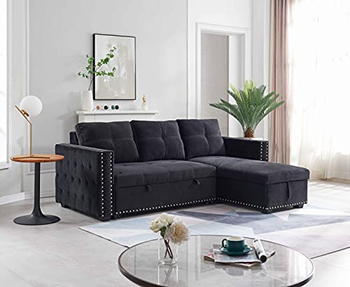 ATY 91' Reversible Sectional Sleeper Sofa with Storage Chaise, L-Shape Corner Couch with Pulled Out...