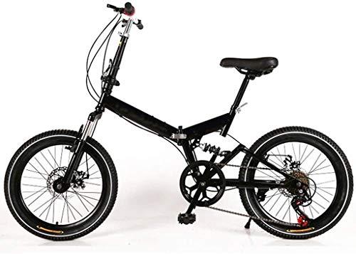 20 Pulgadas Bicicleta Bici Ciudad Plegables Adulto Hombre Mujer, Bicicleta de Montaña Btt MTB Ligero Folding Mountain City Bike Doble Suspension Bicicleta Urbana Portátil, H014ZJ