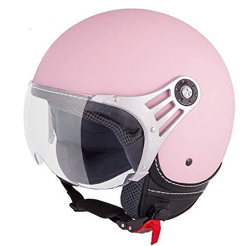 Vinz Stelvio Jethelm Roller Helm Fashionhelm | In Gr. XS-M | Jet Helm Uni Colour | ECE Zertifiziert | Motorradhelm mit Visier | Rosa Matt