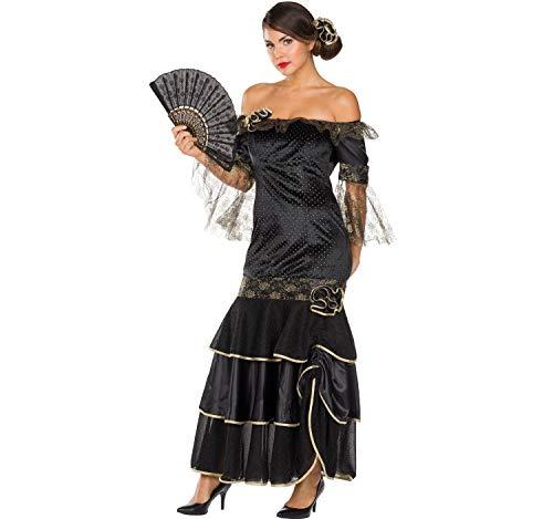 Rubie's Damen Kostüm Flamenco Spanierin Tänzerin Kleid latein schwarz Ballkleid Fasching (40)