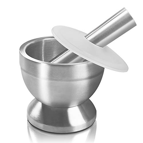 Mortar and Pestle Sopito 18/8 Stainless Steel Spice Grinder Pill Crusher with Lid for Crushing Grinding Ergonomic Design with Anti Slip Base and Comfy Grip