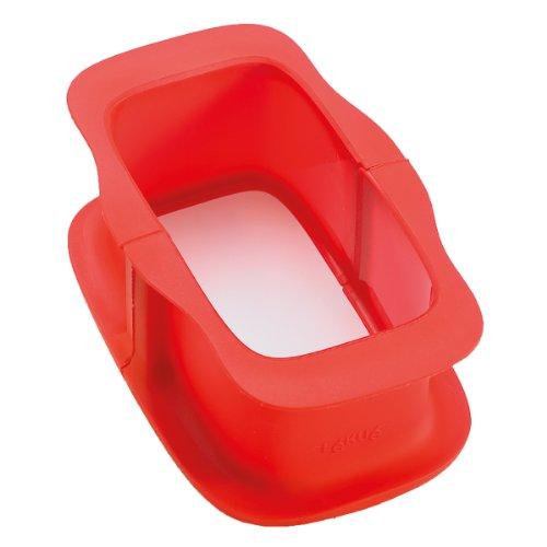 Lékué 2412315R01M017 Moule à Terrine Duo Démontable 15 cm Silicone Platine + Céramique Rouge