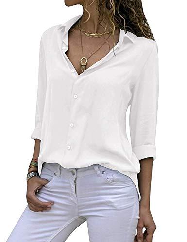 Yieune Chiffon Bluse Elegant Damen Langarmshirt V-Ausschnitt Casual Oberteile Hemd Lose Shirt (Weiß XXL)