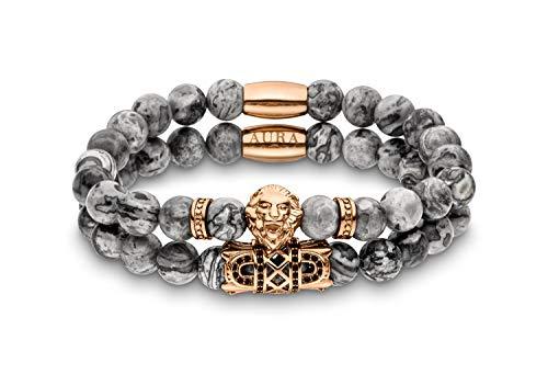 Lions Aura Löwen-Armband mit edlen Naturperlen | Perlen-Armband | Armband Herren | kraftvolles Design | Grau & Rosé-Gold | 2er Set