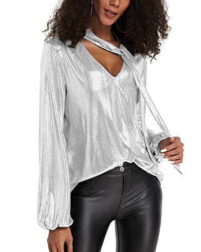 YOINS Sexy Oberteil Damen Glitzer Oberteile Wetlook Langarmshirt für Damen Tshirt V-Ausschnitt Clubwear Partywear Lederlook Weiß S