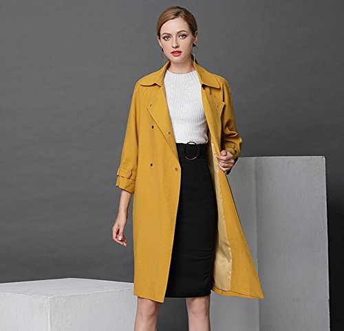 Great Deal! HUAN Womens Ladies Double Breasted Jacket Trench Coat - Mid-Length Yellow Long Coat Top ...