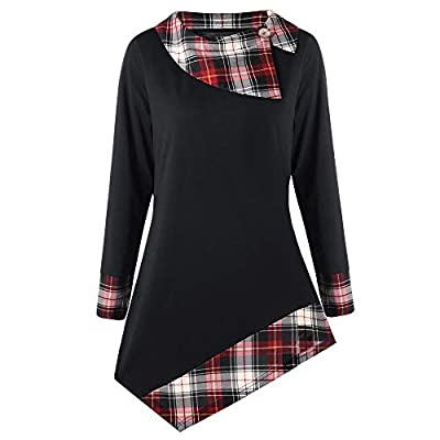 Respctful ?? Plus Size Tops for Women,Ladies Plaid Patchwork Pullover Asymmetrical Hem Shirt Casual Pullover Tops