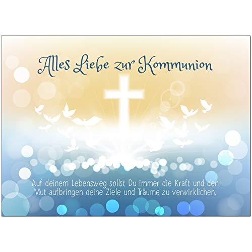 Glückwunschkarte Kommunion mit Umschlag/Zauberhafter Verlauf mit Tauben/Kommunionskarten/Karte für Glückwünsche/Feier
