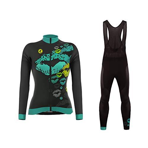 UGLY FROG Radsport Anzüge für Damen Radtrikot Set Langarm Fahrradjacke und Lange Radhose Winter Fahrradbekleidung Outdoor