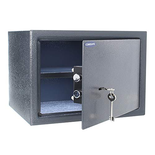 Rottner 3139 Saturn LE25 £1000 Cash-Rated Key Lock Safe for Home or Office Use – Double-Bit Safety Lock with Strong Locking 18mm Bolts – Affordable Fireproof Small Medium Compact Safety Deposit Box