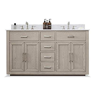 "UrbanFurnishing.net - Grace 60-Inch (60"") Mid-Century Bathroom Sink Vanity Set with Carrara White Top - Antique Gray"